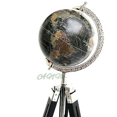 World Globe With Wooden Tripod Stand Antique Nautical Office Decor