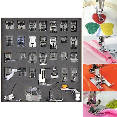 32pcs Presser Foot Feet For Brother Toyata Singer Domestic Sewing Machine Parts