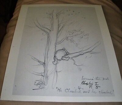 Winnie The Pooh Sketch for Illustration/He Climbed & He Climbed/Print 30x23 cm