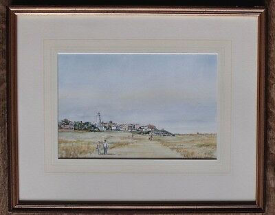 SOUTHWOLD LIGHTHOUSE original framed Watercolour painting Suffolk Artist N HALL