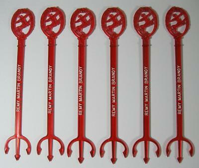 Retro/vintage red plastic bar swizzle stick x 6 Remy Martin Brandy kitsch