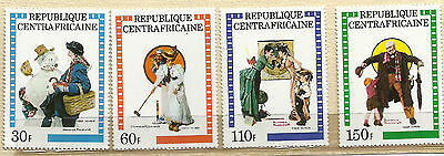 1982 REP. OF  CENTERAL AFRICA (NORMAN ROCKWELL) Stamps S#506-509 M/NH/POF