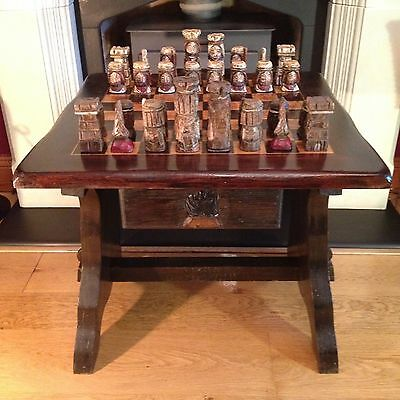 Vintage Antique Chess Set Hand Carved Pieces Table Draw Old Beautiful Woodcraft.
