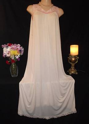 Vintage Long Nylon Nightgown Shadowline Lacy Sissy Pale Yellow & Pink L