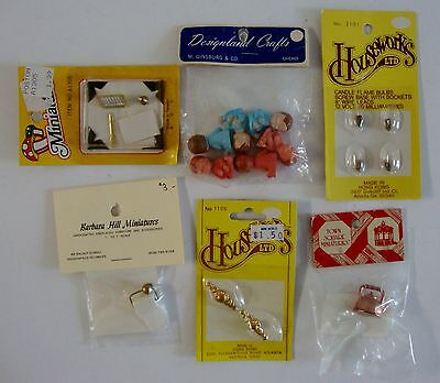 Lot of 6 Vintage/ New Concord Dollhouse Miniatures Toilet Paper Holder Bulbs Etc