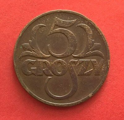 Poland 5 Groszy 1939 Bronze Coin