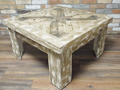 Rustic Country Distressed Antique Style Square Wooden Coffee Table (Dx4400)
