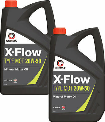 2 X Comma X-Flow Type Mot 20W-50 Motorway Mineral Motor / Engine Oil Mot1G 4.5L