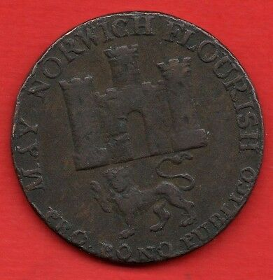 1792 Copper Halfpenny Token / Coin.   Norwich Norfolk.