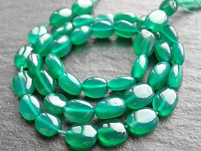 """GREEN ONYX OVAL NUGGETS, approx 5x7mm, 13"""", 45 beads"""