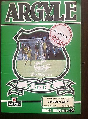 Plymouth v Lincoln 1985-86 programme