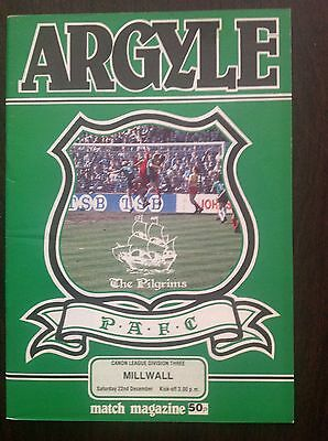 Plymouth v Millwall 1984-85 programme