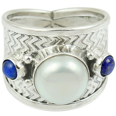 Pearl 925 Sterling Silver Ring  Jewelry Size-6.5 SR-6490