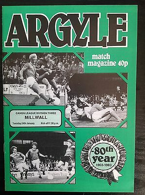 Plymouth v Millwall 1983-84 programme