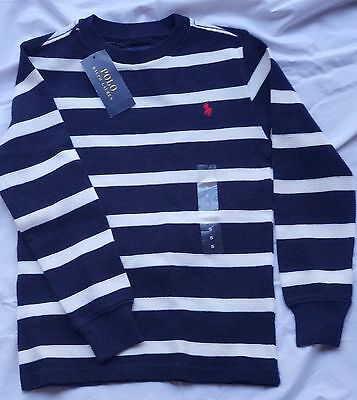 Ralph Lauren Boy Black White sz 5 jumper stripes knit top LS Birthday gift Kid