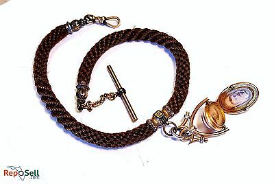RARE 1800's Braided Hair Mourning Watch Fob Necklace Solid 14k Gold Spin Locket