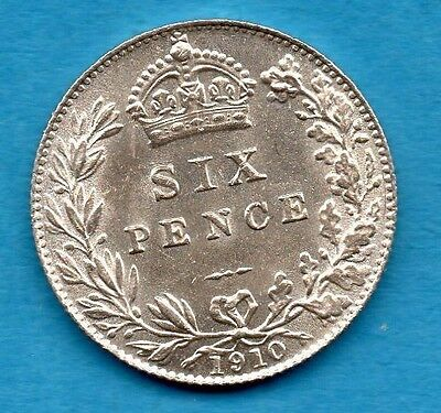 1910 KING EDWARD VII SIXPENCE SILVER COIN. TANNER. BEAUTIFUL CONDITION. 6d