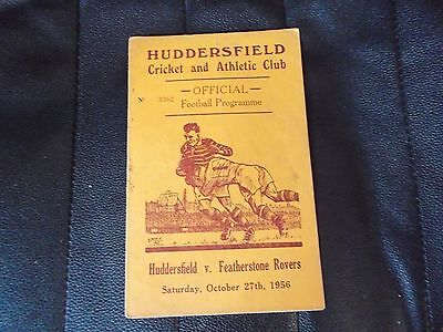 HUDDERSFIELD V FEATHERSTONE ROVERS 1956-7 Rugby league programme