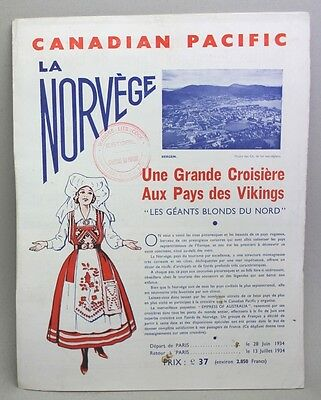Vintage 1934 CANADIAN PACIFIC Brochure RMS EMPRESS OF AUSTRALIA Fjords of Norway