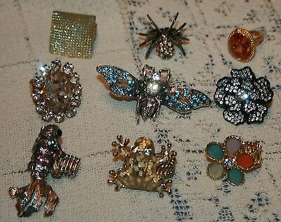 Costume Jewelry Rings Lot 9 pcs Adjustable STATEMENT Koi Frog SPIDER Wasp Flower