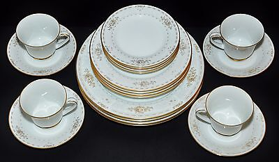NORITAKE KEEGAN GOLD 20Pc 4X 5PC DINNER PLACE SETTINGS CUPS SAUCERS PLATES