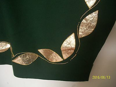 "Vintage Art DecoForest Green  Wool Panel w/ Gold Leaf Edging  (140"" long x 27"" )"