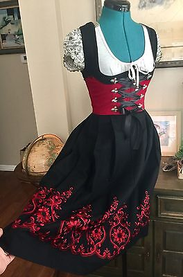 VTG ROSE DIRNDL Bavarian Ethnic Folk Corset Octoberfest Dress Sz S 36 AUS BAYERN