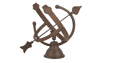 Fallen Fruits Cast Iron Armillary Sundial with Hour Indicator,  26.5x34.7x29.5cm