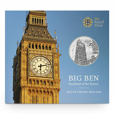 The Royal Mint Big Ben 2015 UK £100 Fine Silver Coin - UK15100B