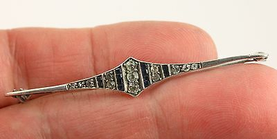 Vintage Art Deco c 1930 sterling silver blue and clear paste stone brooch pin