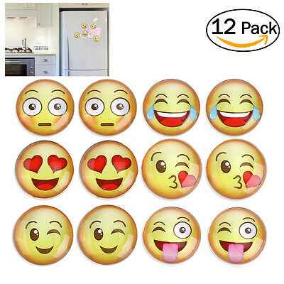 12x Funny 3D Expression Fridge Magnets Magnetic Message Whiteboad Office Cabinet
