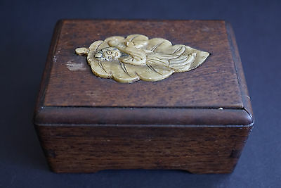Old Chinese Wood Box Inlaid Stone Carving