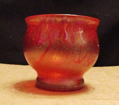 Royal Brierley Glass Bowl. Red with Iridescent pattern. Art Glass