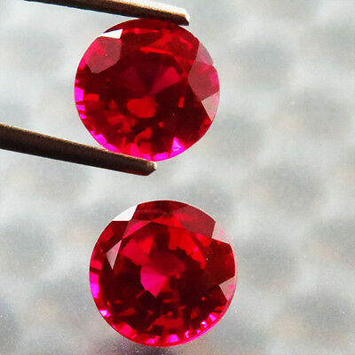 3.69 Ct Rare Awesome!  Pair Pigeon Blood Red Ruby Round Gem
