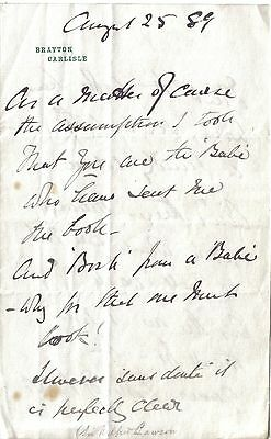 Sir Wilfrid Lawson - Liberal MP - 1889 note thanking 'Babe' for 'Book of Bosh'