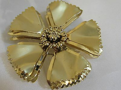 Vintage Large Gold Tone Layered Flower Pin Brooch