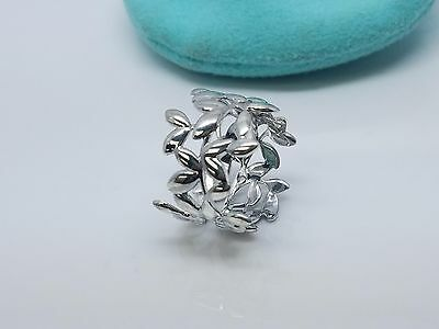 Tiffany & Co Paloma Picasso Olive Leaf Ring Sterling Silver 925 Size 6.5 Pouch