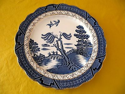 """BOOTHS REAL OLD WILLOW SALAD PLATES dia 8.25""""/21cm  gold rim, USED (0.4/98C,91)"""