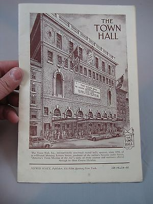Vintage 1950 1951 The Town Hall Theater Program NY Joan Fontaine Robert Shaw