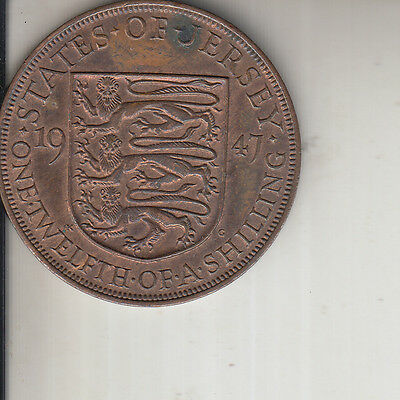 1947   Jersey 1/12 twelth of a shilling Near Uncirculated