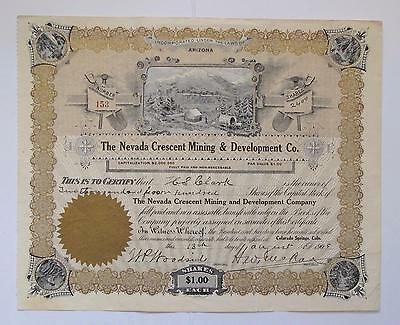 The Nevada Crescent Mining & Development Co. Stock Certificate- Southern Nevada