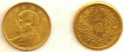 China/Japan : Mini-Gold coin, minature version struck  in 8kt. Gold. Very small.
