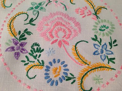 Vintage Hand Embroidered White Linen Tablecloth PRETTY FLOWERS
