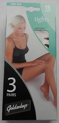 "Women's Tights. One Size 3 Pairs Per Pack. 15 Denier. Natural.  42""hip/107cms"