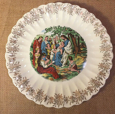 Vintage Sanders Nashville Christian Religious God is Love Plate Jesus with Child