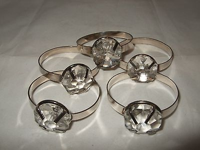 5 Napkin Rings Silvertone With Large Glass Stone