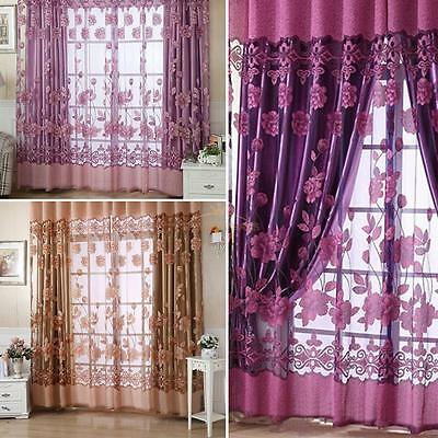 Floral Tulle Voile Door Window Curtain Drape Panel Sheer Scarf Valances 2.5*1M