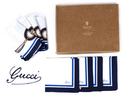 NIB Set of 8 Gucci New York Linen Dining Placemats & Napkins w/ Box