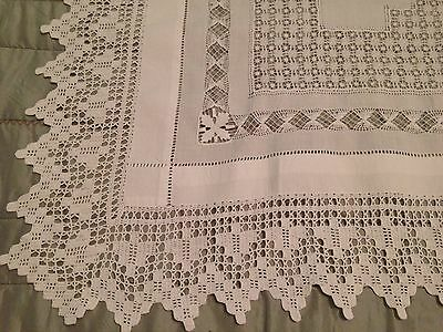 Vintage White Linen Tablecloth DRAWN THREAD WORK and CROCHET