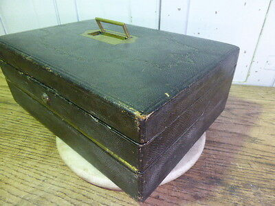 Antique Victorian leather clad writing box slope